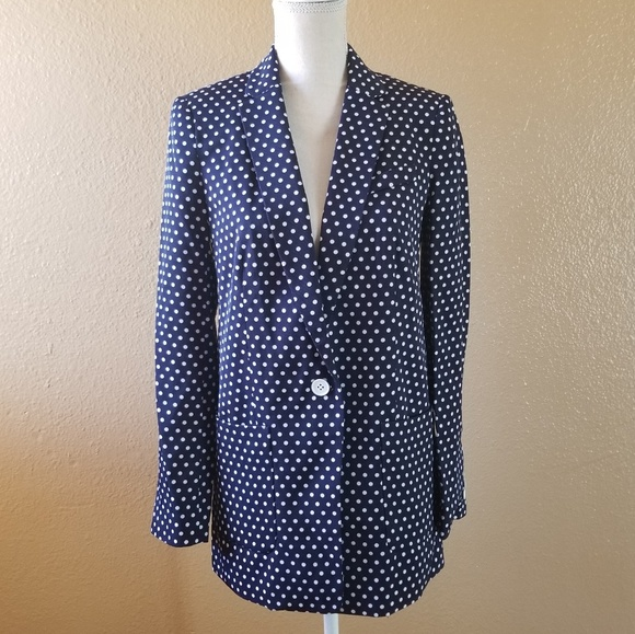 Michael Kors Jackets & Blazers - Michael Kors Polka Dot Blue and White Blazer 2